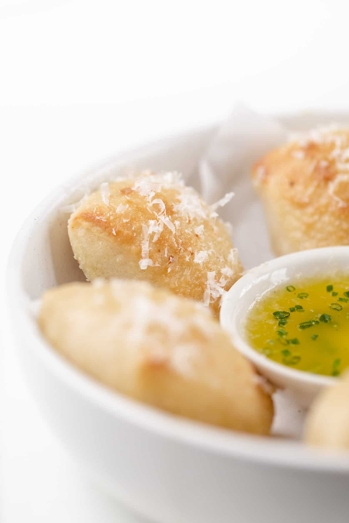 food photographer dough balls with garlic butter dip