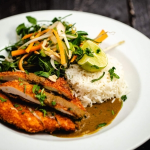 Don Paddy's Chicken Katsu Curry with fragrant basmati rice, beansprouts, pea shoot, peanut and pickled vegetable salad