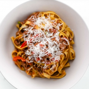 Beef ragu pasta bowl food photography