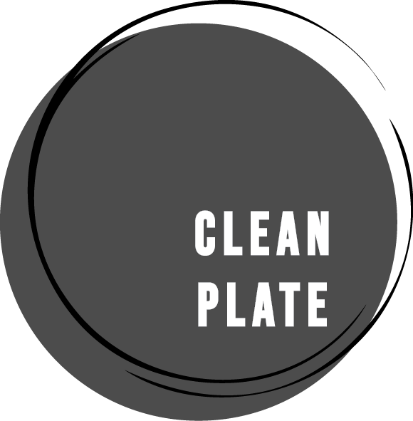 Clean plate logo grey with white text